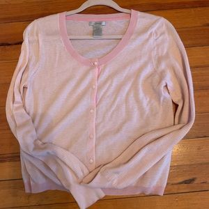 Gap Pink and White Striped Cashmere Cardigan M